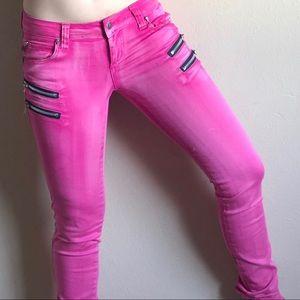 TRIPP NYC hot pink skull zipper skinny pants